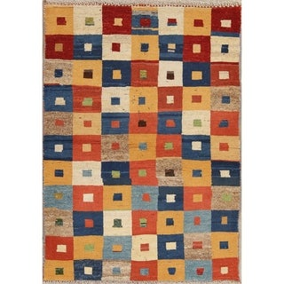 """Gabbeh Checked Hand Knotted Wool Oriental Persian Area Rug - 4'7"""" x 3'3"""""""