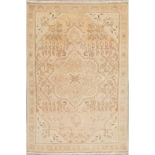 """Vintage Tabriz Muted Hand Knotted Wool Distressed Persian Area Rug - 4'8"""" x 3'2"""""""