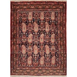 "Vintage Hamedan Geometric Hand Knotted Wool Oriental Persian Area Rug - 4'7"" x 3'6"""