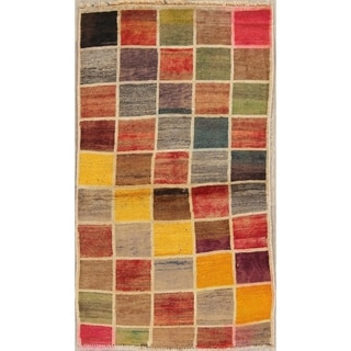 """Gabbeh Checked Hand Knotted Wool Oriental Persian Area Rug - 4'9"""" x 2'8"""""""