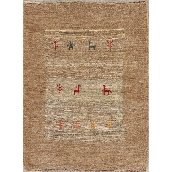 """Gabbeh Contemporary Hand Knotted Wool Oriental Persian Area Rug - 4'9"""" x 3'7"""""""