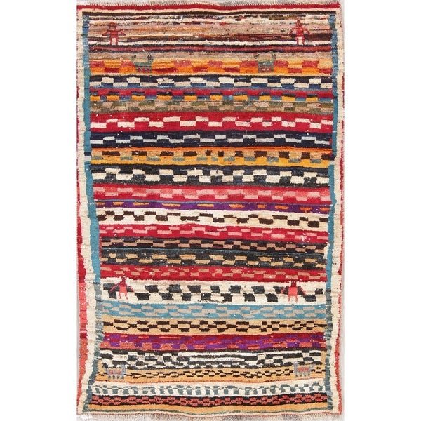 "Gabbeh Tribal Geometric Hand Knotted Wool Oriental Persian Area Rug - 4'11"" x 3'7"""