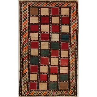 """Vintage Gabbeh Checked Hand Knotted Wool Oriental Persian Area Rug - 5'5"""" x 3'4"""""""