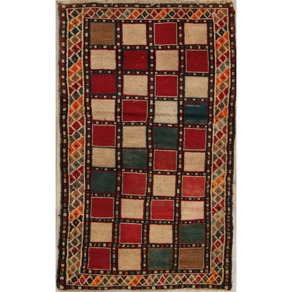 "Vintage Gabbeh Checked Hand Knotted Wool Oriental Persian Area Rug - 5'5"" x 3'4"""