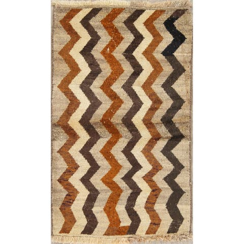 """Gabbeh Geometric Hand Knotted Wool Oriental Persian Area Rug - 4'9"""" x 2'10"""""""