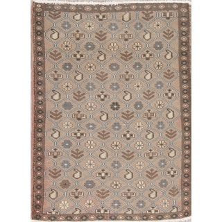 """Vintage Mahal Geometric Hand Knotted Wool Oriental Persian Area Rug - 4'7"""" x 3'4"""""""