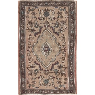 "Tabriz Muted Hand Knotted Wool Persian Distressed Oriental Area Rug - 4'11"" x 2'11"""