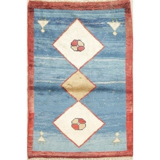 """Vintage Gabbeh Geometric Hand Knotted Wool Oriental Persian Area Rug - 3'11"""" x 2'8"""""""