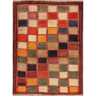 """Vintage Gabbeh Checked Hand Knotted Wool Oriental Persian Area Rug - 4'8"""" x 3'6"""""""