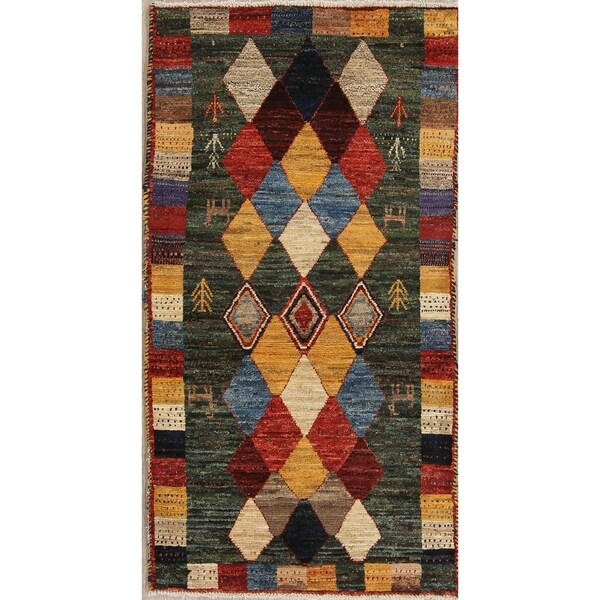 "Gabbeh Tribal Geometric Hand Knotted Wool Oriental Persian Area Rug - 5'1"" x 2'9"""