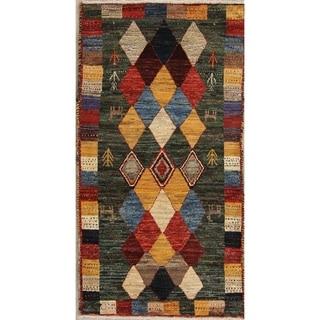 "Gabbeh Tribal Geometric Hand Knotted Wool Oriental Persian Area Rug - 5'1"" x 2'9"""