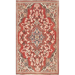 "Vintage Mahal Geometric Hand Knotted Wool Oriental Persian Rug - 5'6"" x 3'3"" Runner"