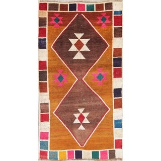 """Vintage Gabbeh Geometric Hand Knotted Wool Oriental Persian Area Rug - 5'5"""" x 3'0"""""""