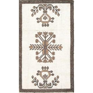 "Vintage Ferdos Geometric Hand Knotted Wool Oriental Persian Area Rug - 4'9"" x 2'9"""