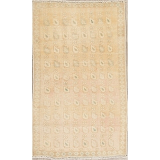 """Vintage Tabriz Muted Hand Knotted Wool Persian Distressed Area Rug - 4'9"""" x 2'10"""""""
