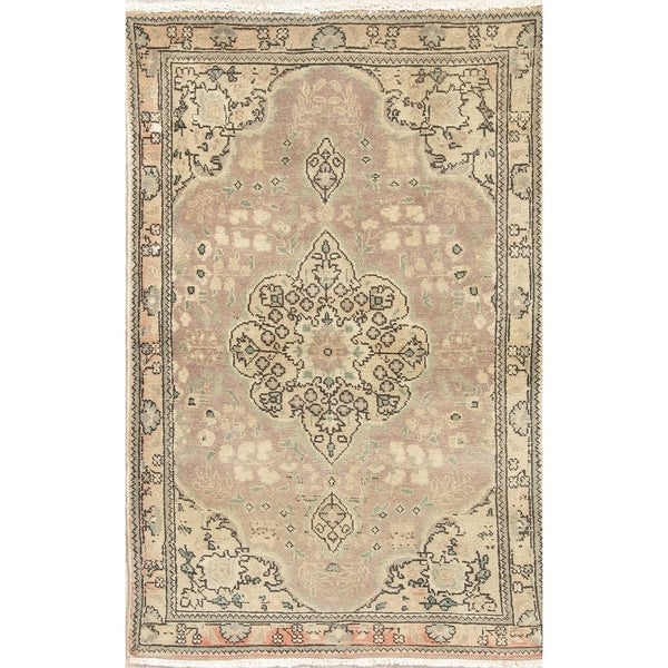 "Muted Tabriz Hand Knotted Wool Persian Distressed Oriental Area Rug - 4'11"" x 3'1"""