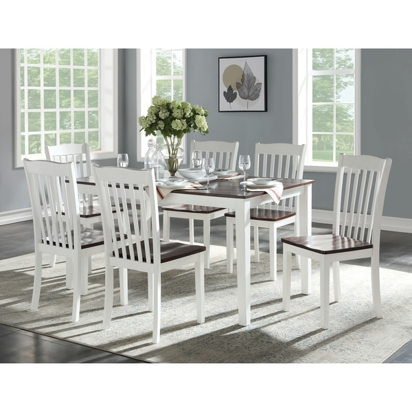 Dual Tone Wooden Dining Set with Six Slatted Chairs, Pack of Seven, Brown and White