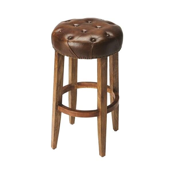 Transitional Round Leather Bar Stool - Dark Brown