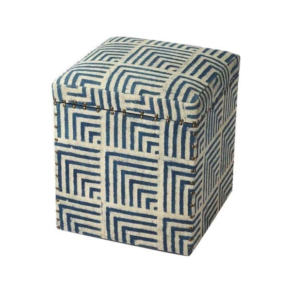 Astonishing Blue Cotton Solid Wood Transitional Square Upholstered Storage Ottoman Machost Co Dining Chair Design Ideas Machostcouk