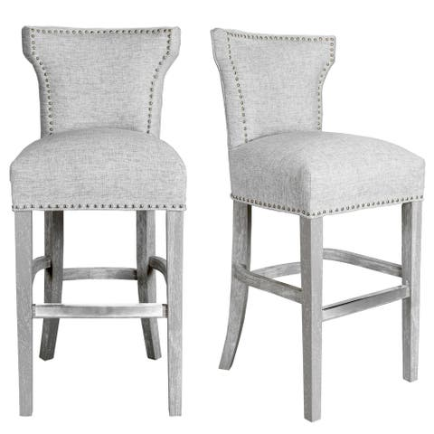Light Grey Upholstered Dining Room Barstool