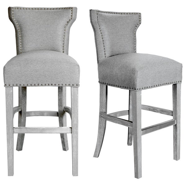 Bella Modern Grey Upholstered Dining Room Barstool. Opens flyout.