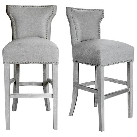 Modern Grey Distresssed Nailhead Upholstered Barstool