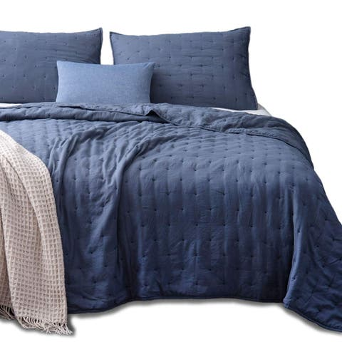 Kasentex Quilt Bedspread Set Ultra Soft Machine Washable Hypoallergenic Queen Size in Grey (As Is Item)