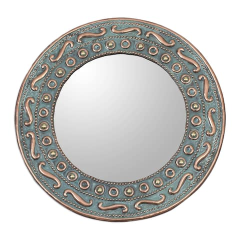 Handmade Colonial Rays Copper and bronze wall mirror (Peru)