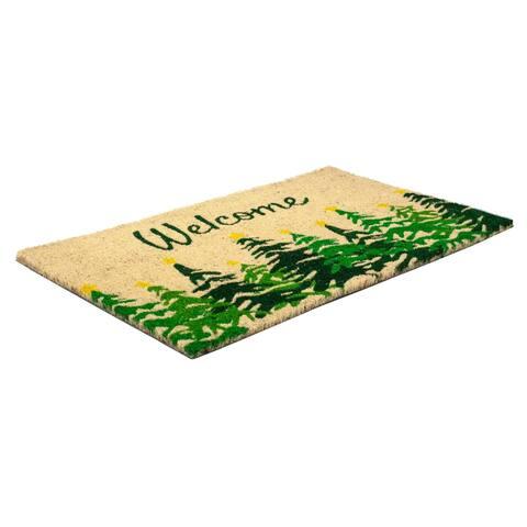 Winter Fir Coir Doormat with Backing 17 x 28