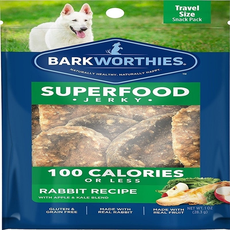 Barkworthies Rabbit Jerky Recipe with Apple & Kale Blend 100 Calorie Pack - Case of 16