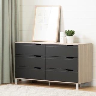 South Shore Kanagane 6-Drawer Double Dresser, Soft Elm and Matte Charcoal
