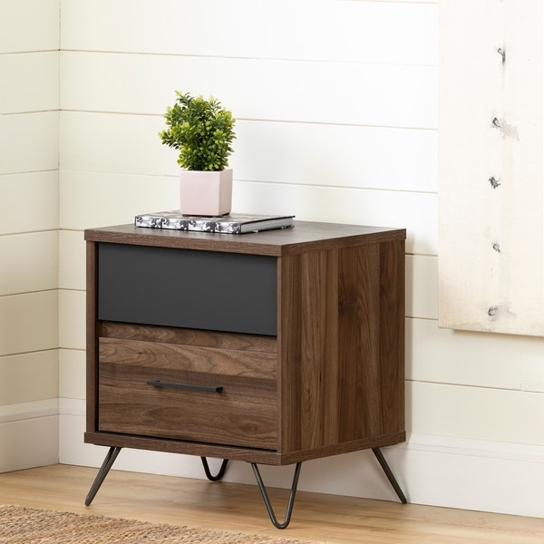 South Shore Olvyn Natural Walnut and Charcoal 2-drawer Nightstand
