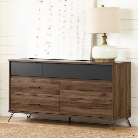 South Shore Olvyn Natural Walnut and Charcoal 7-drawer Double Dresser
