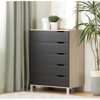 South Shore Kanagane 5-Drawer Chest, Soft Elm and Matte Charcoal