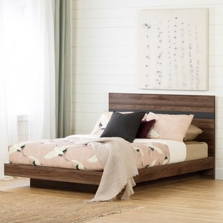 South Shore Olvyn Complete Bed, Natural Walnut and Charcoal Size - Queen