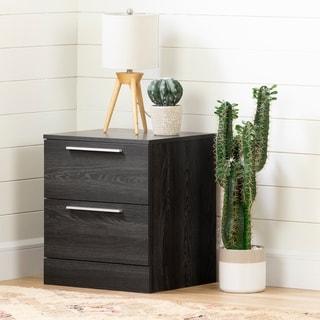 South Shore Step One Essential Grey Oak Finish 2-drawer Nightstand