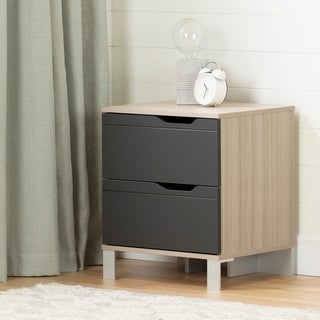 South Shore Kanagane 2-Drawer Nightstand, Soft Elm and Matte Charcoal