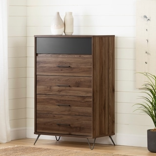 South Shore Olvyn Natural Walnut and Charcoal Finish 5-Drawer Chest