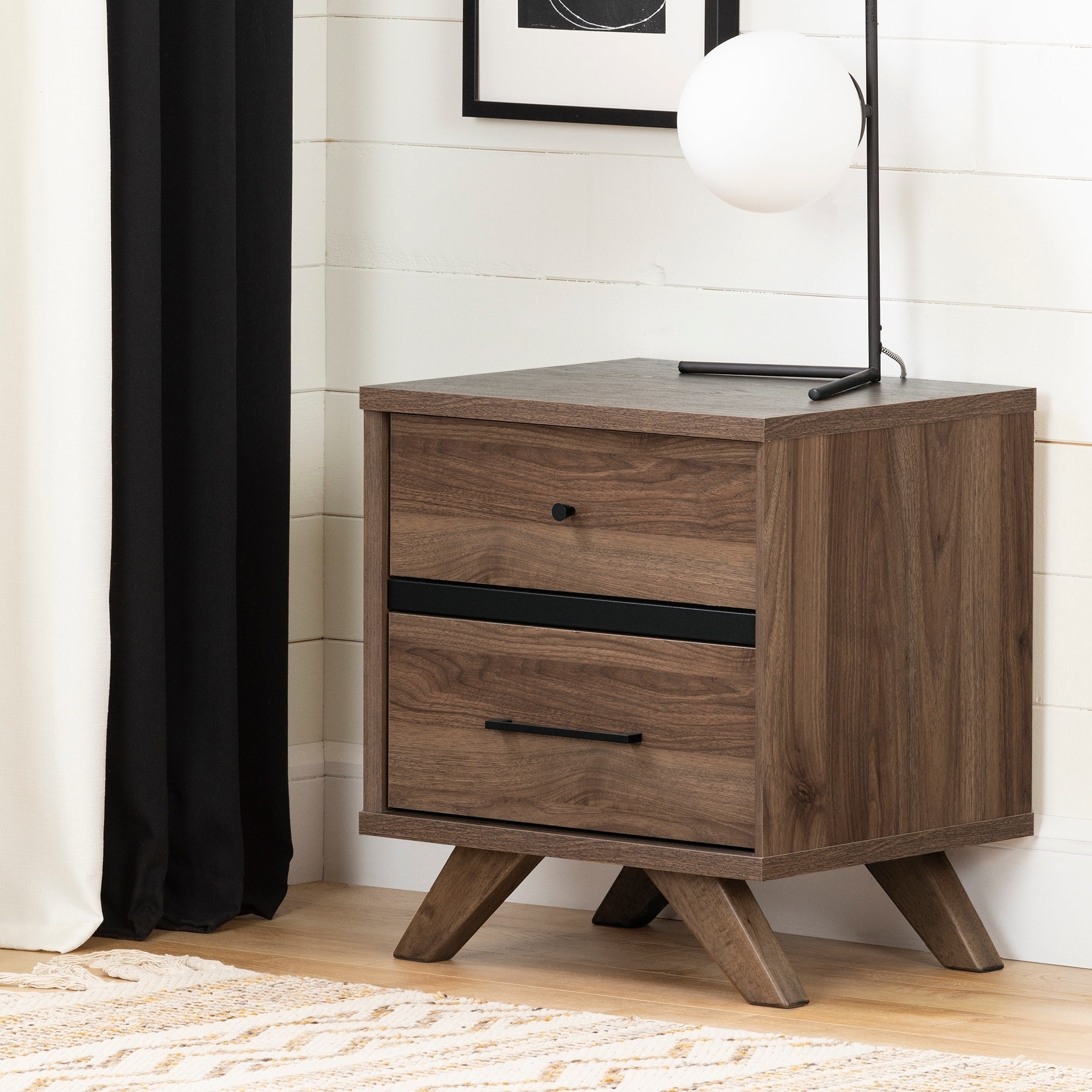 South Shore Flam Natural Walnut And Matte Black 2 Drawer Nightstand