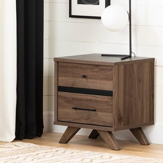 South Shore Flam Natural Walnut and Matte Black 2-drawer Nightstand