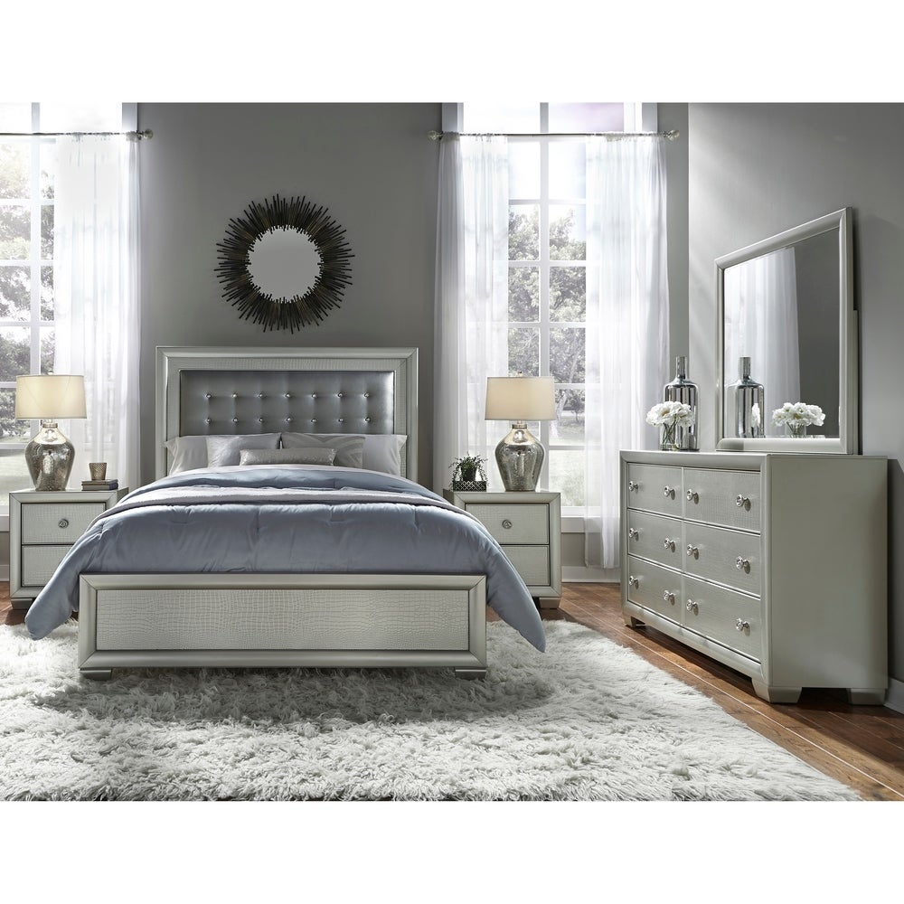 Overstock Ibiza Silver 5 Piece Upholstered Tufted King Bedroom Set From Overstock Com Daily Mail