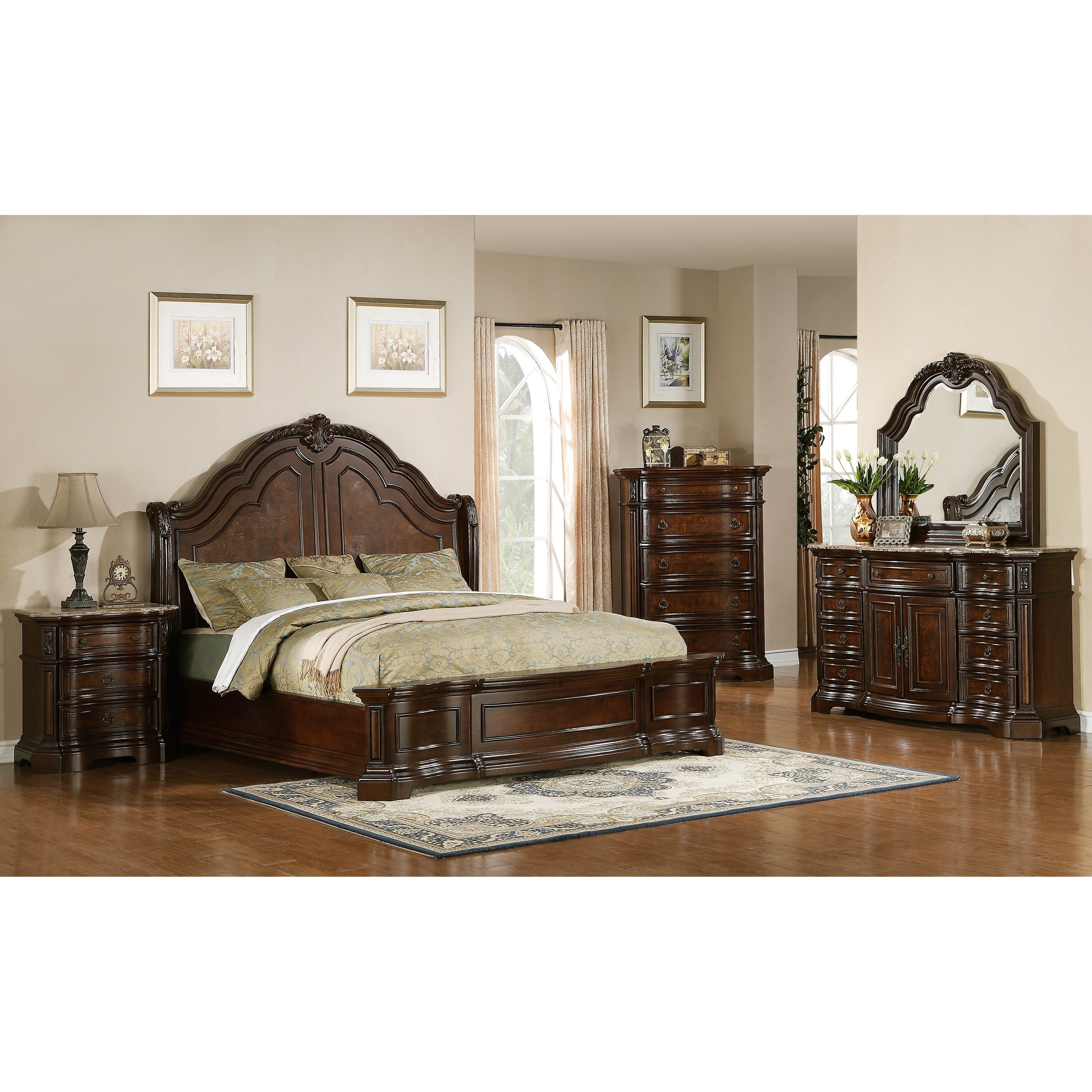 Shop Paris Elegant Brown 5 Piece Queen Bedroom Set Overstock 28067554