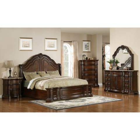 Paris Elegant Brown 5-piece Queen Bedroom Set