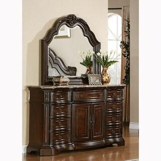 Paris Elegant Brown 9-drawer Dresser with Mirror