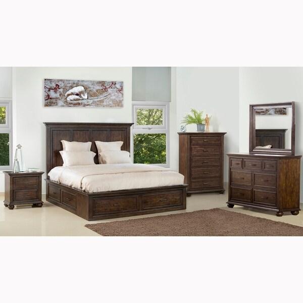 shop holman distressed antique brown 6piece king bedroom