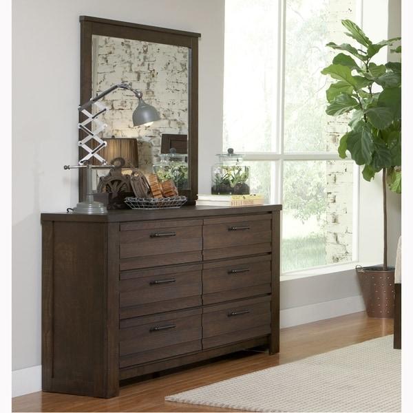 Lauren Distressed Brown Modern Industrial Rustic Dresser and Mirror