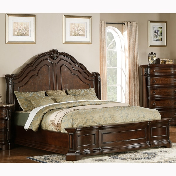 Paris Elegant Brown Wood Bed