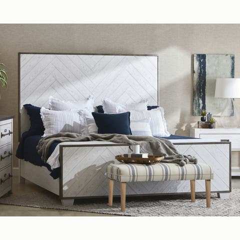 Swids Modern Farmhouse Vintage White Bed with Metal Frame