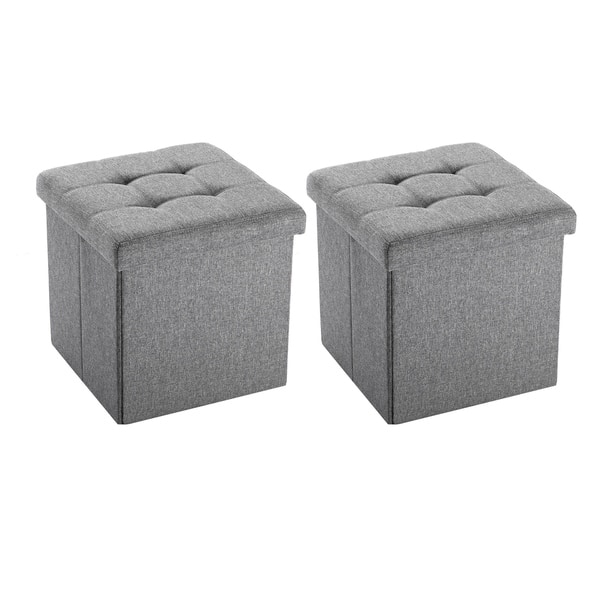Groovy Shop Grey Fabric Folding Storage Ottoman Set Of 2 Free Forskolin Free Trial Chair Design Images Forskolin Free Trialorg