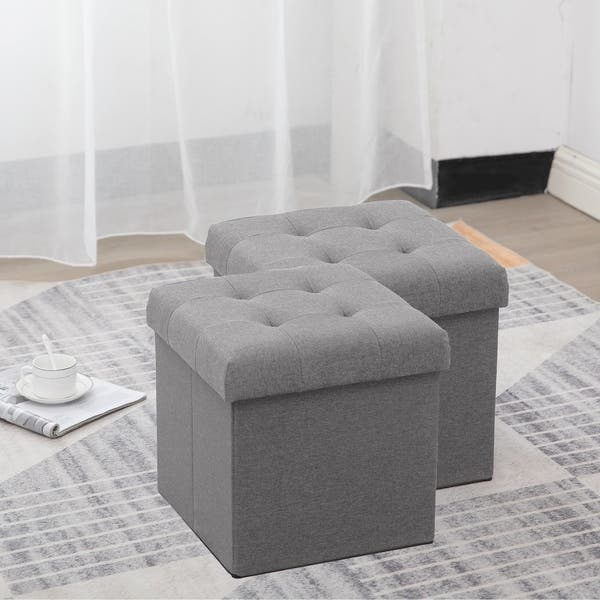 Prime Shop Grey Fabric Folding Storage Ottoman Set Of 2 Free Forskolin Free Trial Chair Design Images Forskolin Free Trialorg